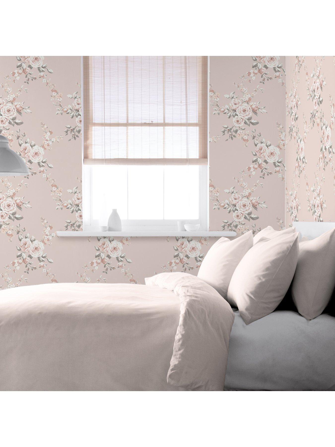 Grandeco Light Grey Silver Glitter Damask Vinyl Wallpaper Subtle Pink Blush