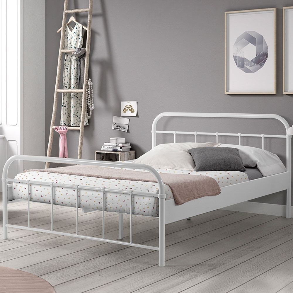 Boston Metal Double Bed in White in 2020 Bed frame