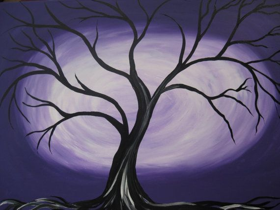 Purple Black And White Grey Gray Tree Of Life Painting Paintings