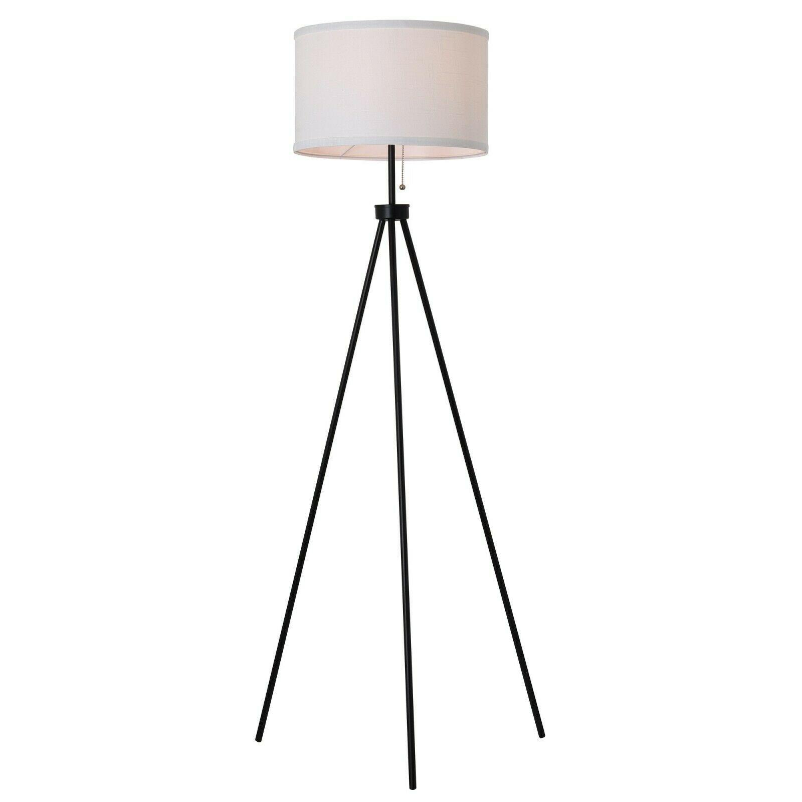 Modern Tripod Floor Lamp Tall Standing White Black Living Room