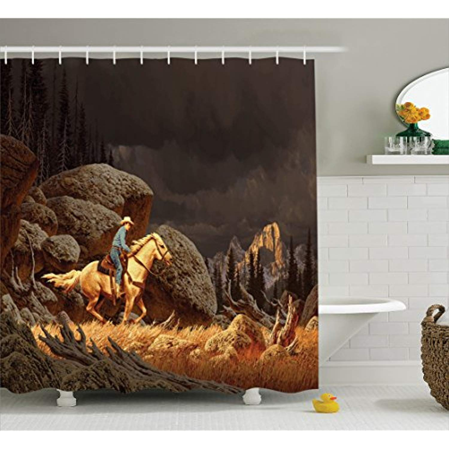 Ambesonne Western Shower Curtain A Rock Mountain Landscape With A