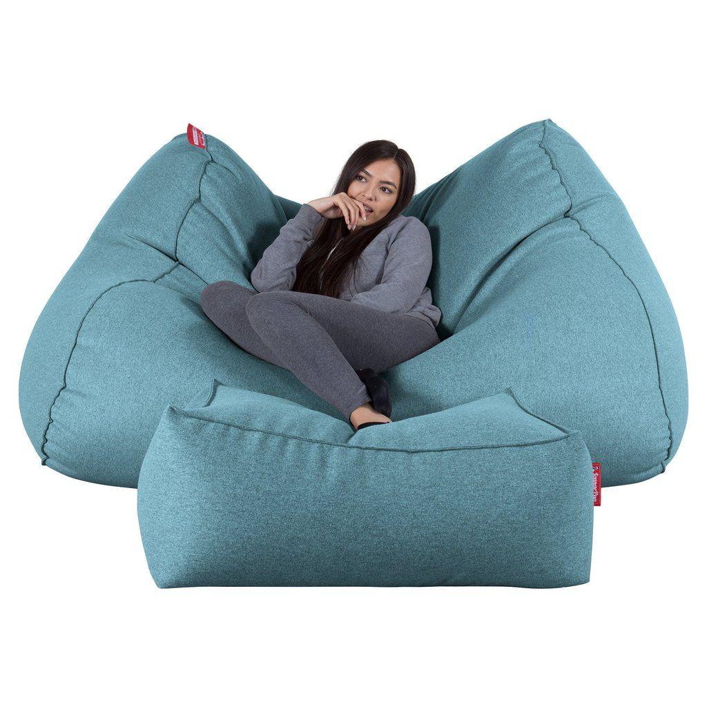 Lounge Pug Aqua Blue Giant Bean Bag Sofa Mega Beanbag Uk Wool Bertha Original