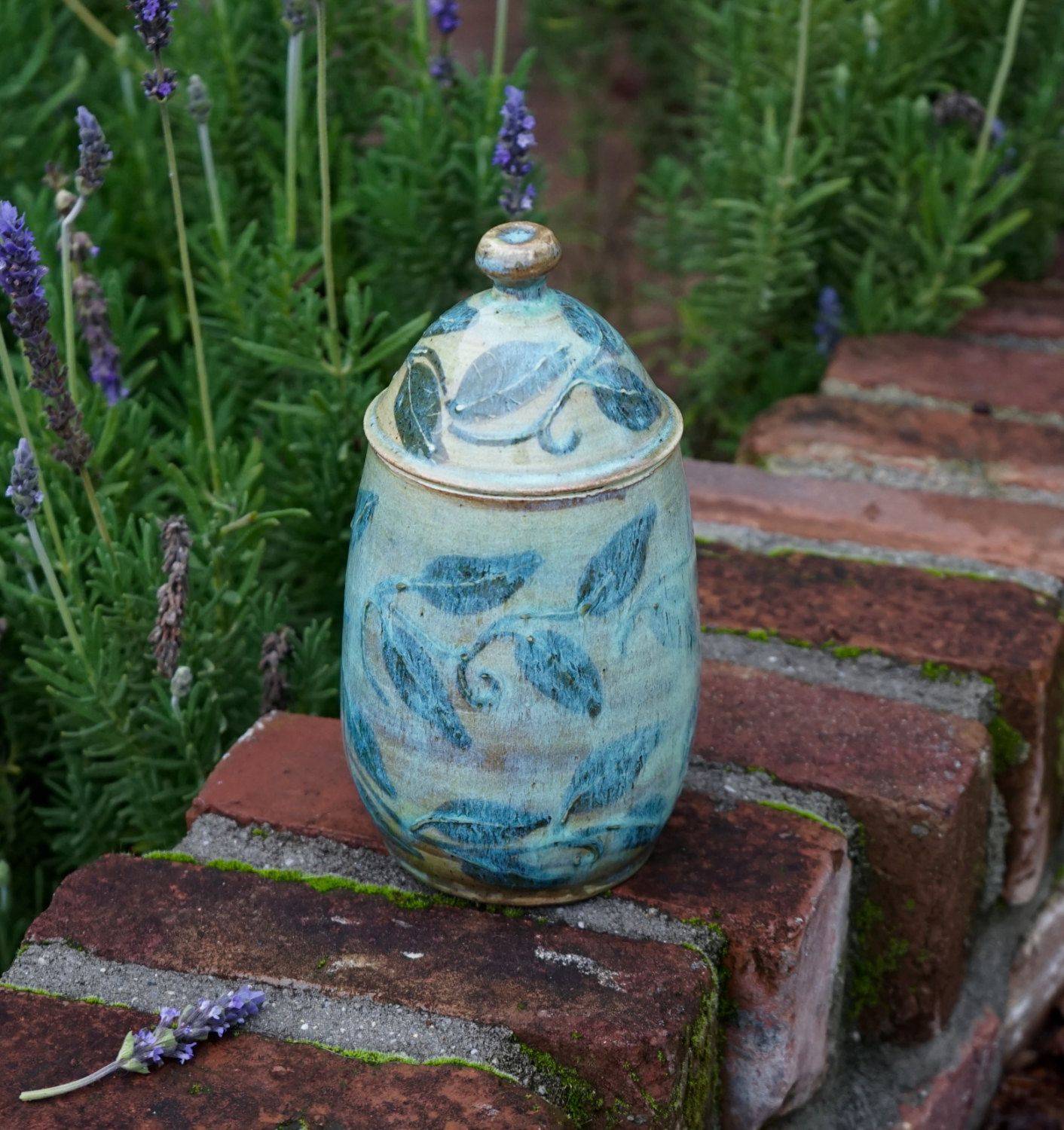 Kitchen Canister Jar, Pottery Biscotti Jar, Ceramic lidded jar, Leaf ...