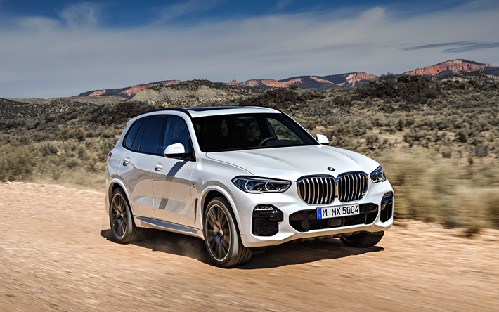 Download wallpapers 4k, BMW X5, 2019, luxury white SUV