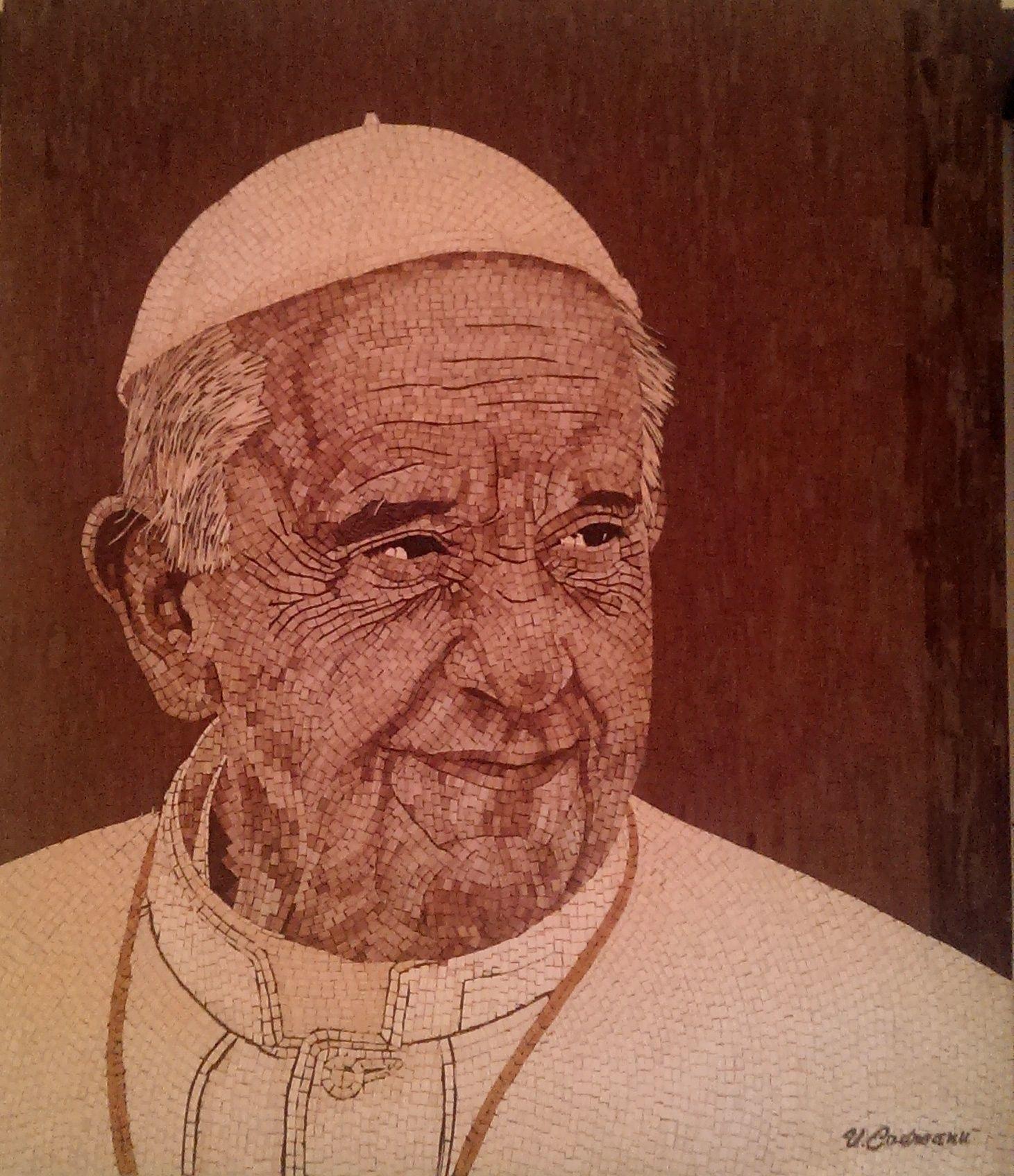 Papa Francesco-mosaico in legno,dimensione-60cm/70cm,9000tesserine ...