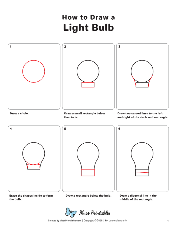 Step By Step Instructions For Drawing A Light Bulb Free Printable Download At Https Museprintables Com Down Light Bulb Drawing Light Bulb Easy Drawing Steps