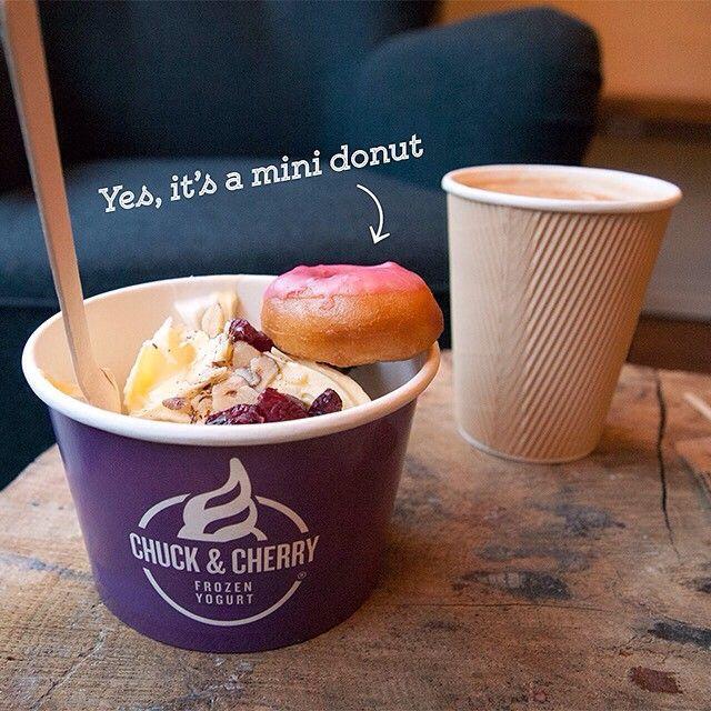 "@chuckandcherry's photo: ""This mini donut from @thedonutshopdk is my froyo's best friend #bff #perfectcouple #chuckandcherry #froyo #frozenyogurt #twoisbetterthanone #sticktogether #copenhagen #nørrebro #nørrebrogade #city2 #taastrup"""