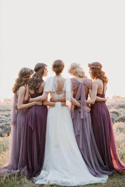 Robes demoiselles d'honneur longues violettes
