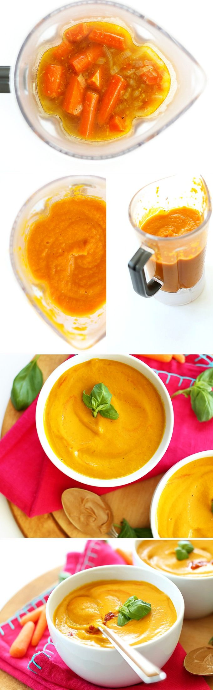 7 Ingredient Creamy Thai Carrot Soup with Basil! #Vegan, #glutenfree #healthy and SO delicious!