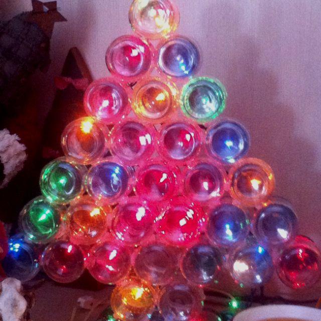 Christmas Tree Made Of Used Baby Food Jars And Lights Christmas Decor Diy Xmas Crafts Christmas Diy