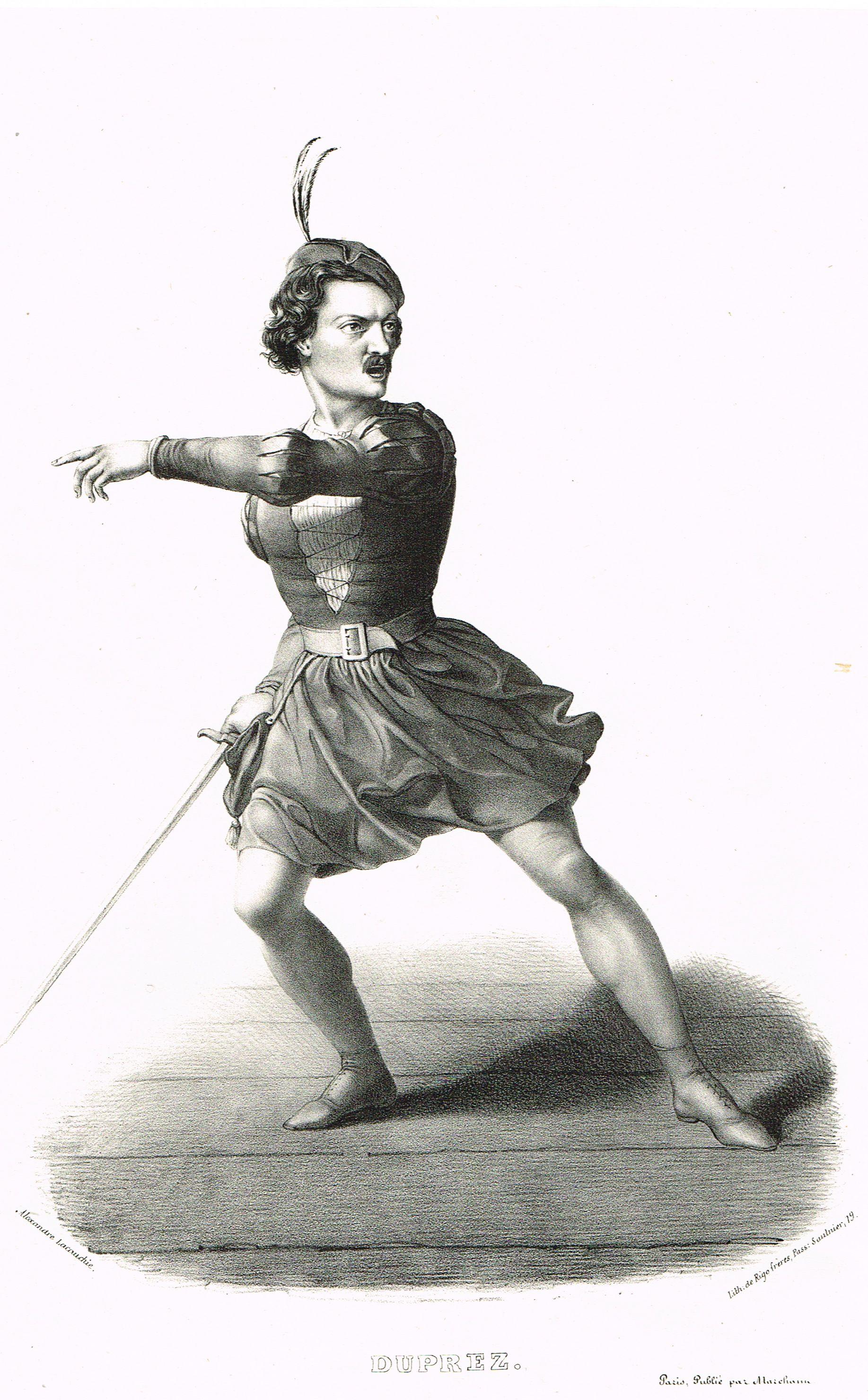 DUPREZ - Gilbert Duprez (6/12/1806 - 23/09/1896) - ténor à l'Opéra de Paris - d'après Alexandre Lacauchie - 1841 - MAS Estampes Anciennes - Antique Prints
