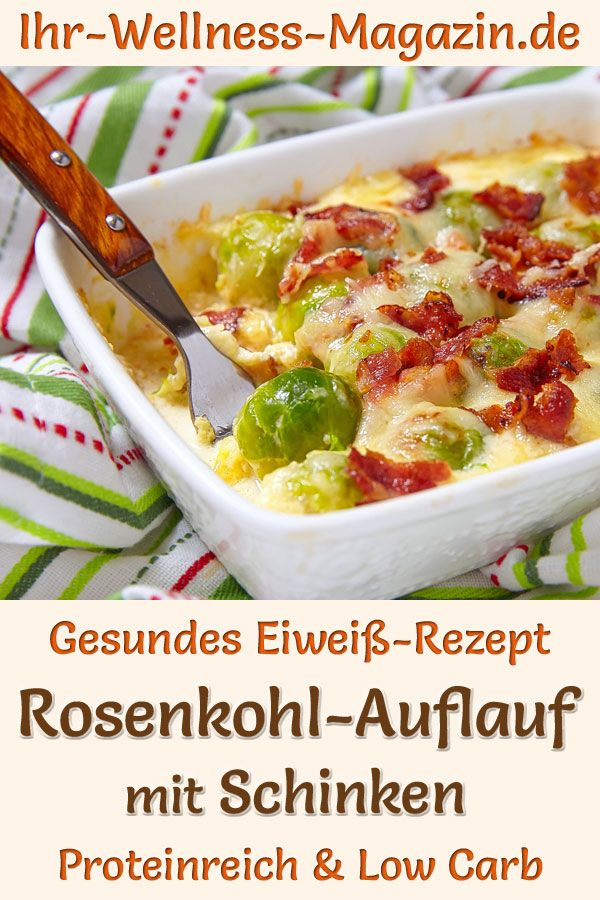 Photo of Brussels sprouts casserole with ham – protein-rich low-carb …