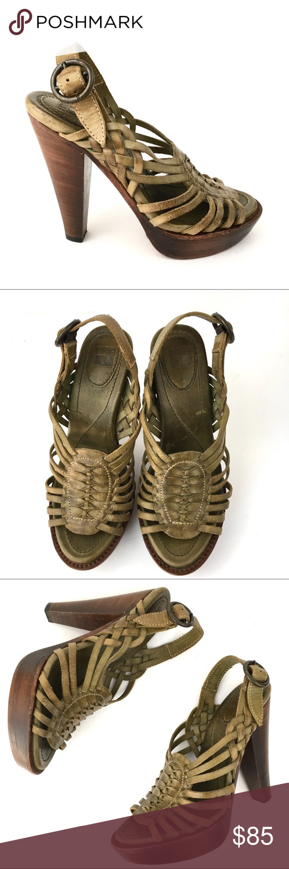 25587c732dce3 Frye green Joy Huarache platform heels sandals 7 Frye olive green leather  Joy Huarache slingback heels