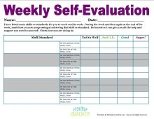Student Weekly SelfEvaluation  Pupil SelfAssessment