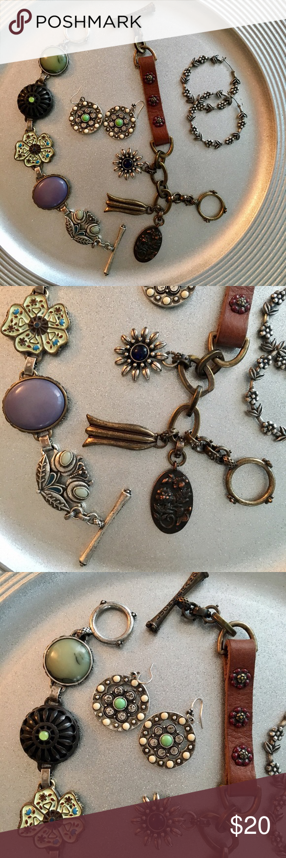 Bundle Lucky Brand Jewelry 🍀 Lucky Brand 🍀 Genuine 🍀 Two toggle bracelets , one in leathers and antique metal elements, one with set with beautiful stones, & two pairs of earrings. Perfect condition. Bohemian Chic!! Lucky Brand Jewelry Bracelets