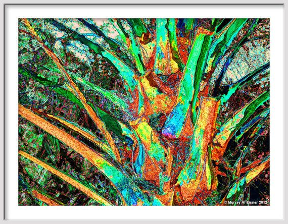 TROPICAL PALM PARK  large nature abstract by Murray Eisner on Etsy, $49.00
