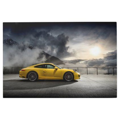 Yellow Porsche Carrera Metal Print | Zazzle.com