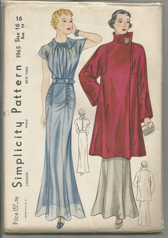 1930s Evening Gown Shirred Drapery Back Slit & Coat Squared ...