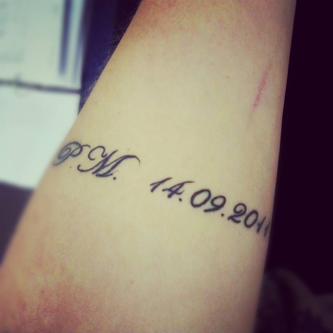 Lovely Wedding Date Tattoo On Sleeve With Initials | Tattoos With ...