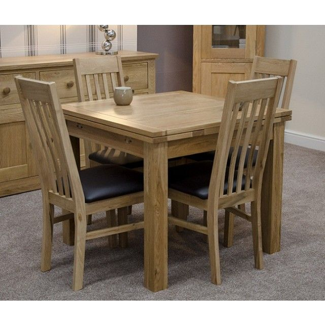 Solid Oak Small Draw Leaf Extending Dining Table Oak Dining