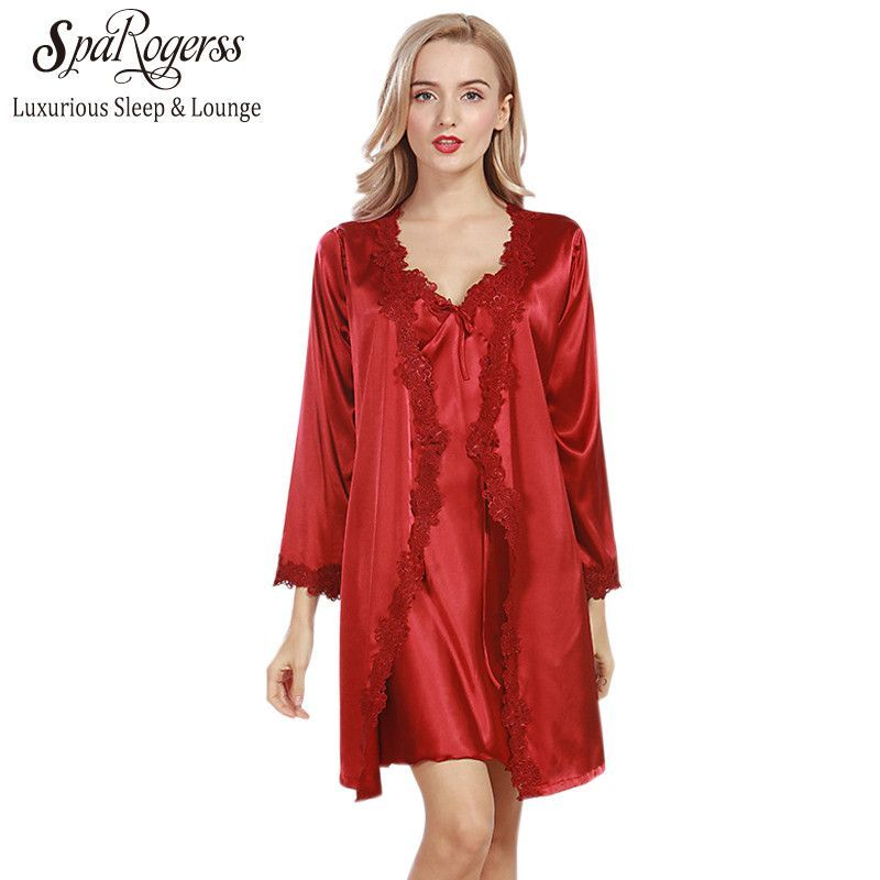 Lace Luxurious Women Robe Gown Set Faux Silk Satin Bath Robe ...