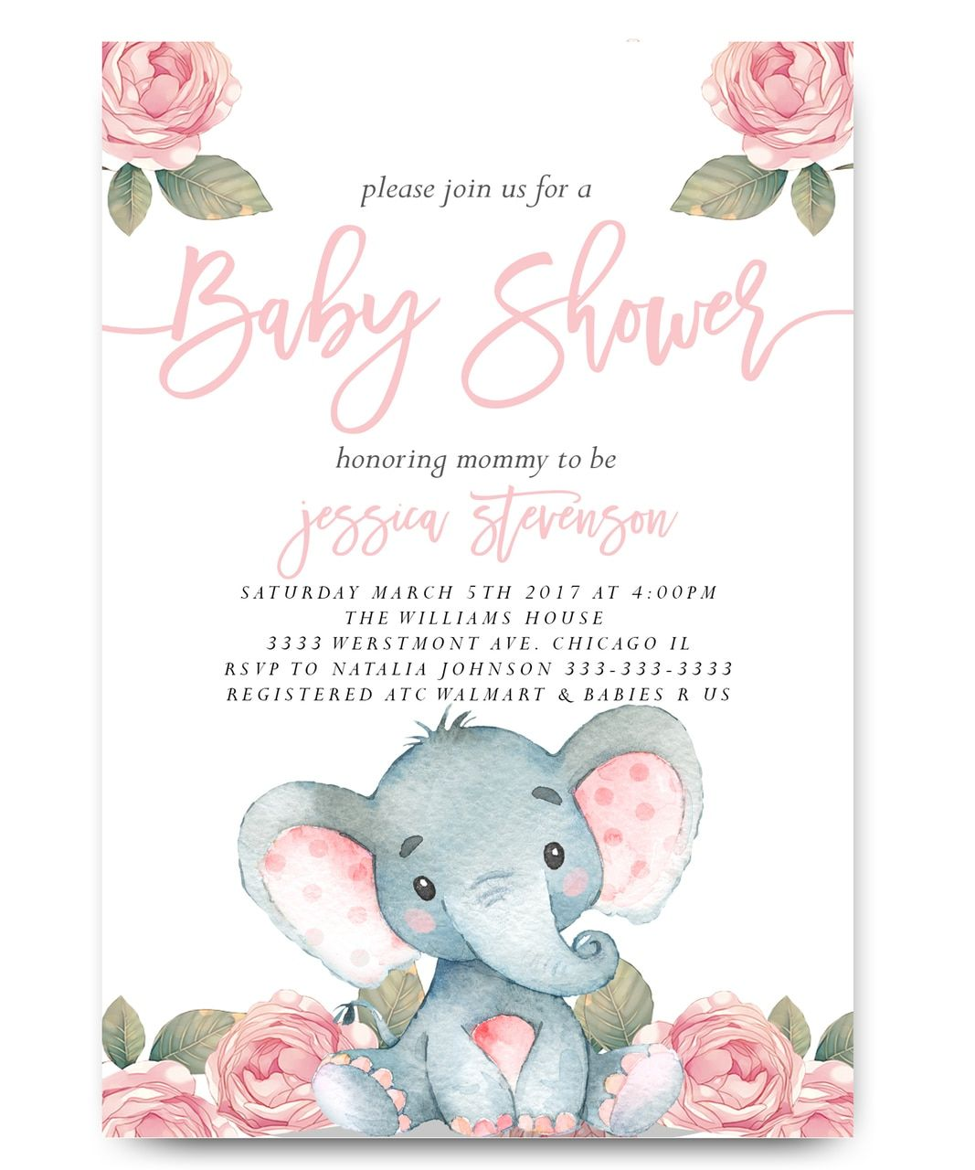Elephant Baby Shower Invitation Pink Floral Elephant In 2019 Baby