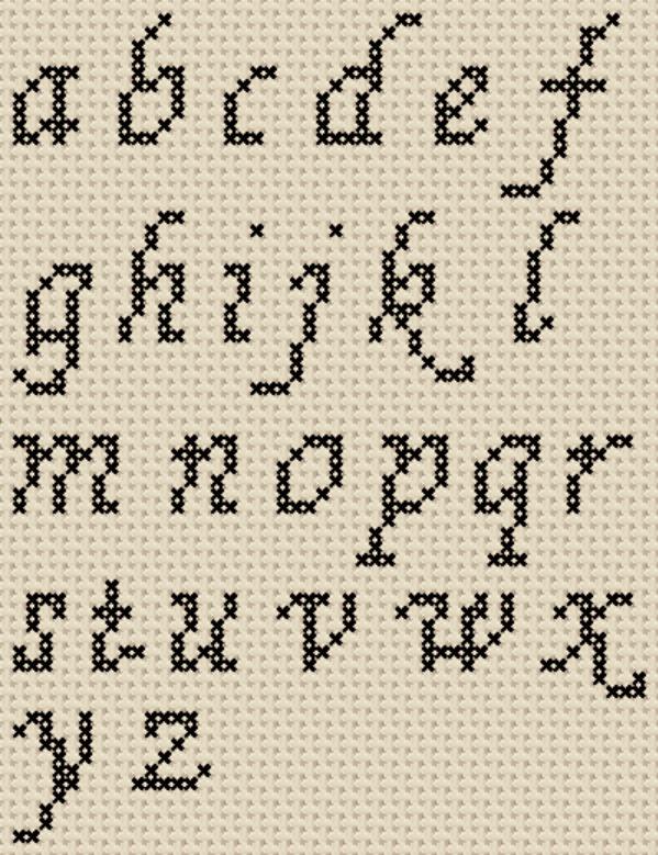 Free Cross Stitch Alphabet Patterns : cross, stitch, alphabet, patterns, Cross, Stitch, Patterns:, Alphabet, Sampler, (Small, Letter, Cursive), St…, Patterns,, Fonts