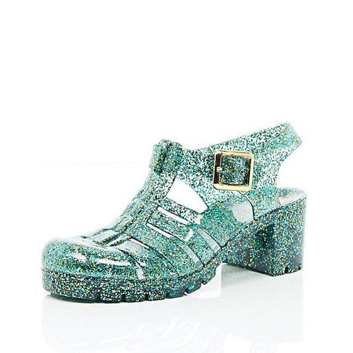 Chaussures en plastique vertes à paillettes et talon carré - sandales plates - Chaussures / bottes - femme