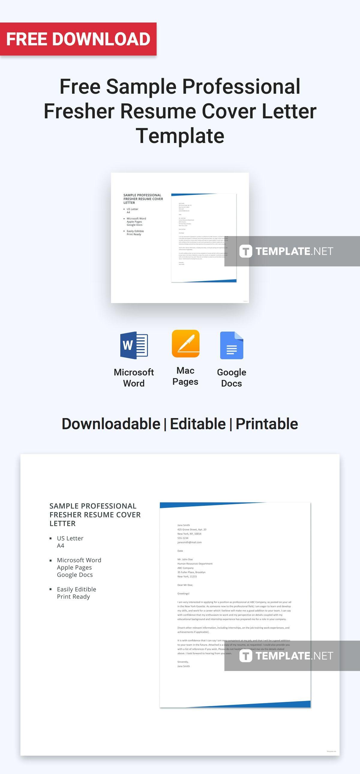 Free Sample Professional Fresher Resume Cover Letter Resume