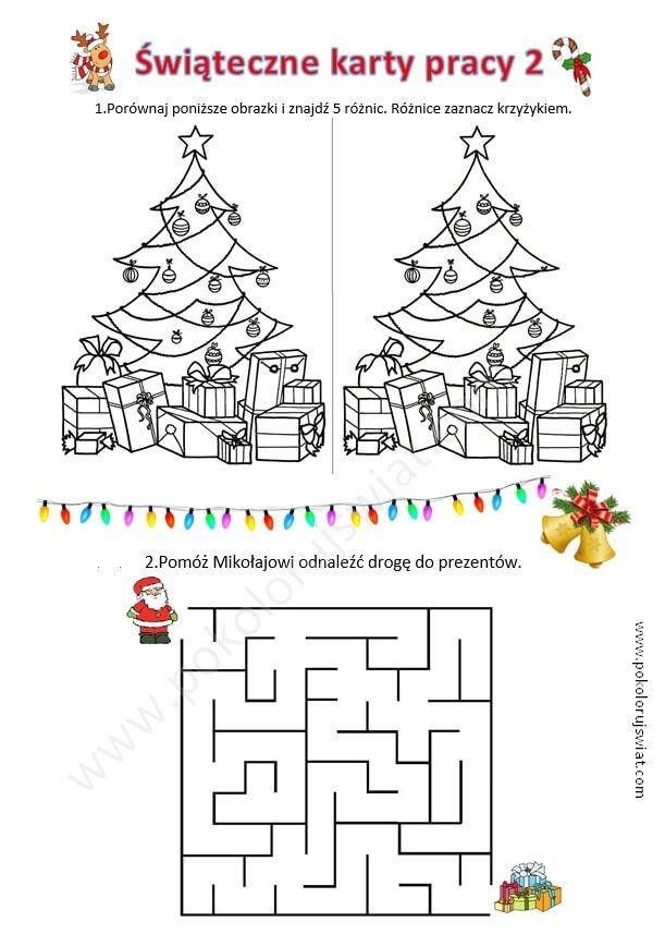 Świąteczne karty pracy 2 | Merry christmas, Merry, Christmas
