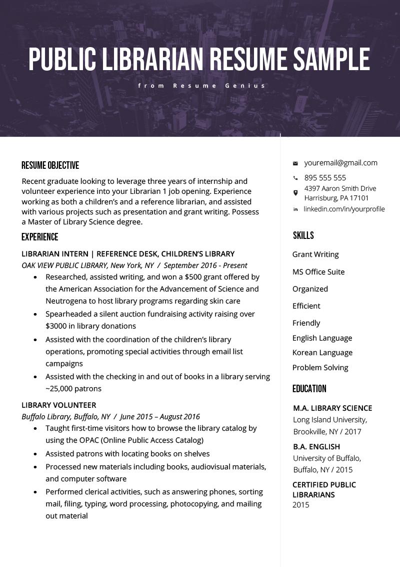 Librarian Resume Sample & Writing Guide Job resume