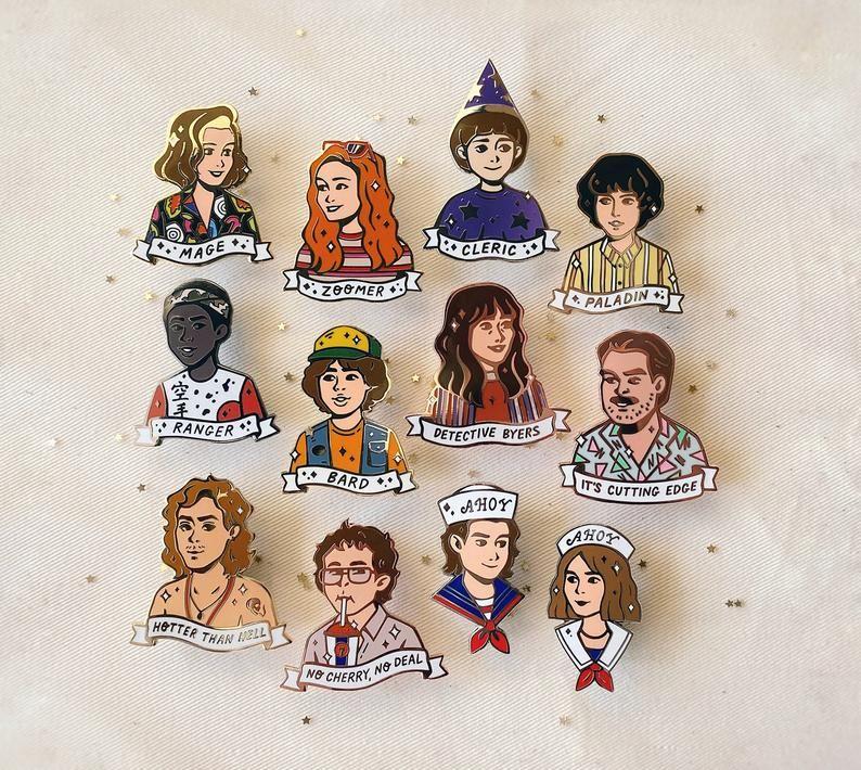 Stranger Pins set | ST Season 3 enamel pins