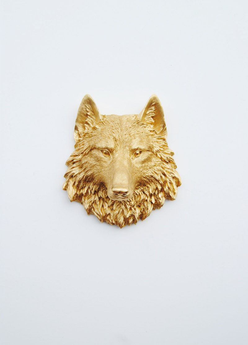 Gold Wolf Head Wall Decor : The Otis Faux Wolf Head by White Faux ...