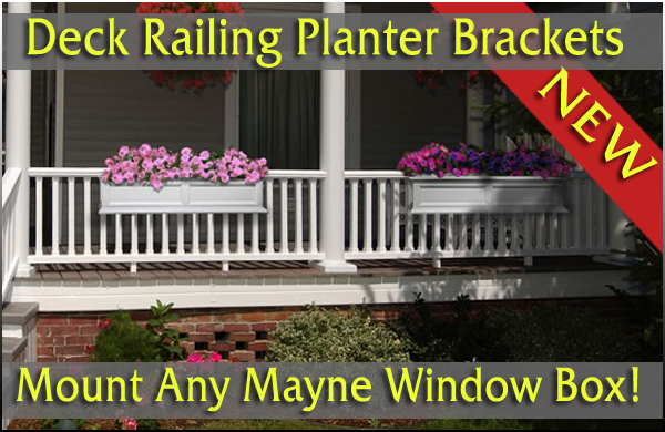 Mayne Adjustable Deck Railing Brackets, Deck Railing Planters, Self  Watering, Deck Railing Planter