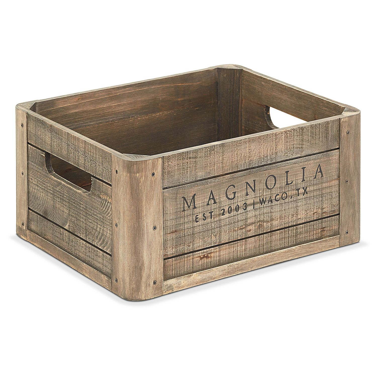 This Wood Crate With Magnolia Logo Is Inspired By The Crates From Days Gone By That Farmer Magnolia Homes Magnolia Home Decor Joanna Gaines Furniture
