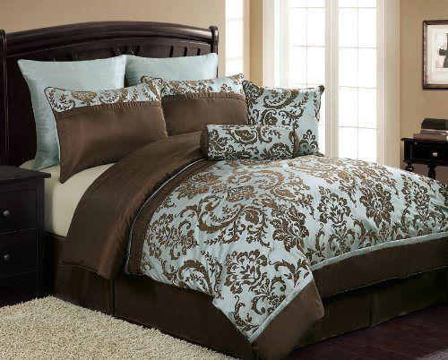 Damask Bedding Damask Comforter Set Blue And Brown Bedding Blue - Blue and brown damask comforter
