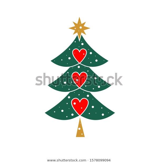 Christmas Tree Three Hearts Beautiful Christmas Stock Vector Christmas Tree Three Heart In 2020 Christmas Tree Pictures Beautiful Christmas Vintage Christmas Tree