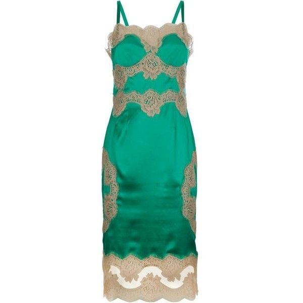 Dolce & Gabbana Lace Chemise Dress Green  Harrods ($2,065) ❤ liked on Polyvore featuring green chemise and lace chemise