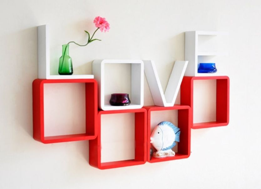 LOVE Wall Shelf Letters Modern Living Room Cafe CD DVD Storage Shelves Decor