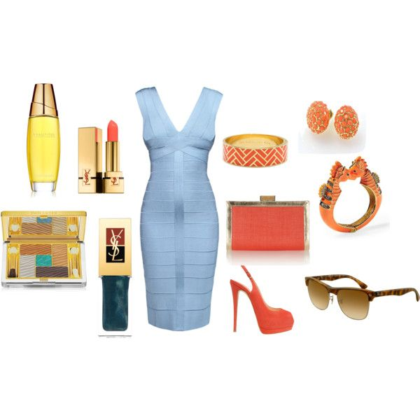Blue & Coral, created by whitefluffyclouds on Polyvore