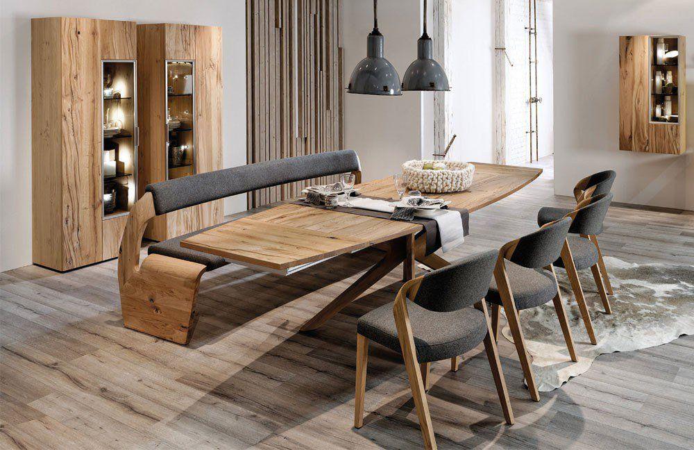 Möbel in Eiche Altholz sorgen für außergewöhnliches Wohnflair - esszimmer holzbank