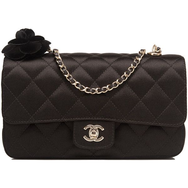 241aa452fbc5 Pre-Owned Chanel Black Quilted Satin Mini Camellia Flower Flap Bag ($3,375)  ❤ liked on Polyvore featuring bags, handbags, black, quilted purse, quilted  ...