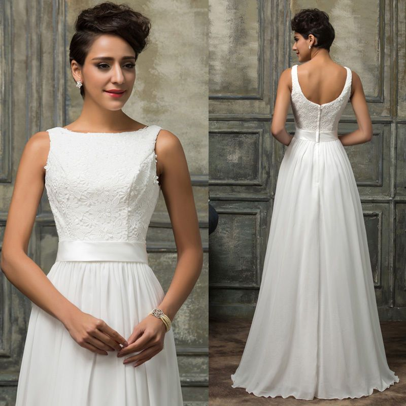Abendkleid Weiß Spitze Lang Brautkleid Hochzeit ...