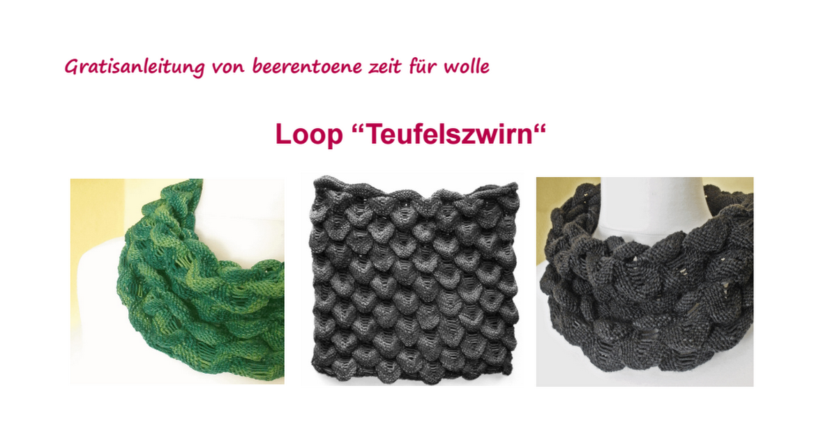 loop teufelszwirn.pdf | Stricken | Pinterest | Stricken ...