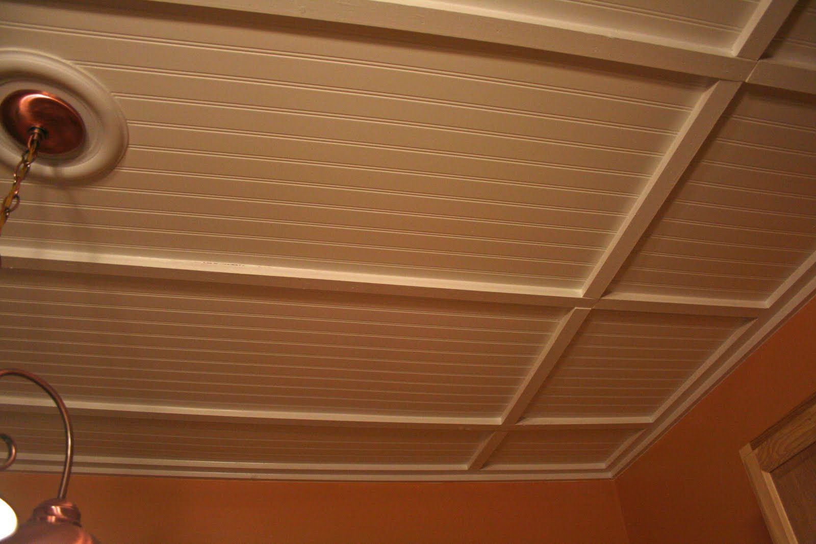 Painted Beadboard With X Boards To Disguise Ugly Drop Ceiling - 1 x 2 ceiling tiles