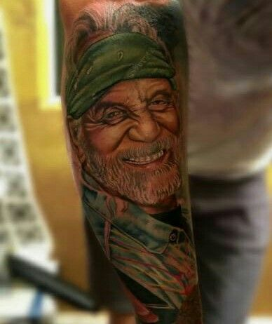 Awesome portrait tattoo of Tommy Chong