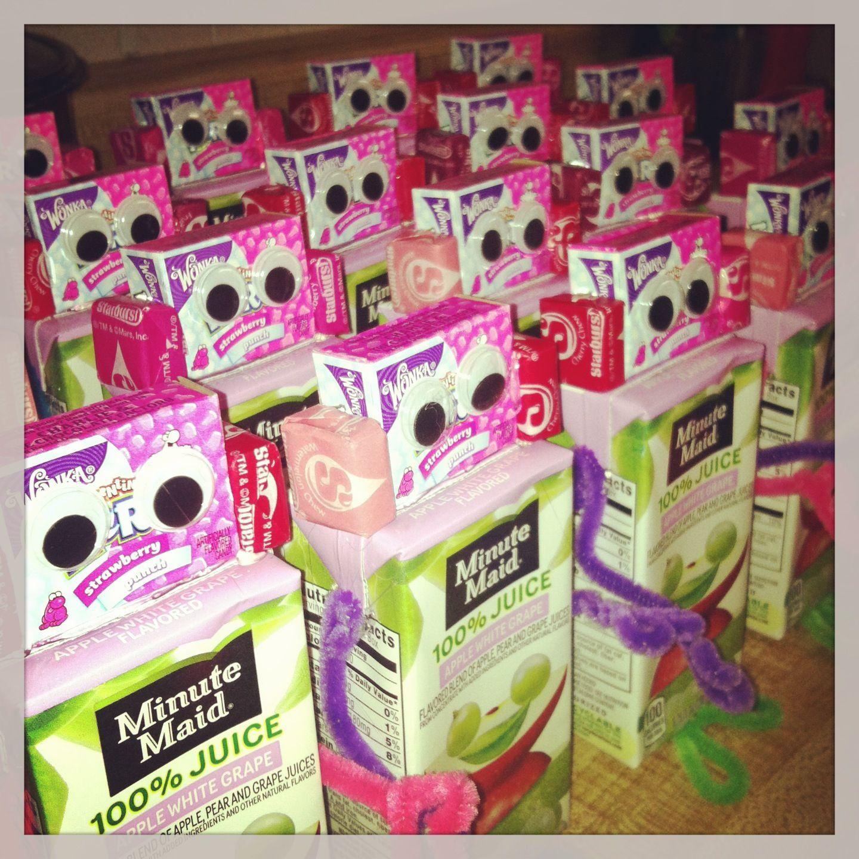 Easy valentine treats for school juice box valentine 39 s for Valentine party crafts for school
