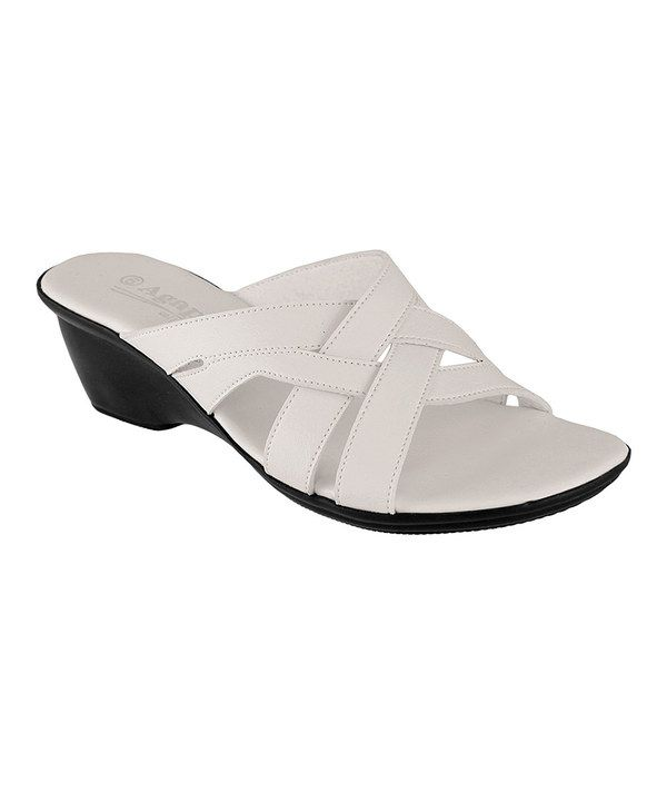 Look at this Agape White Crisscross Henri Sandal on #zulily today!