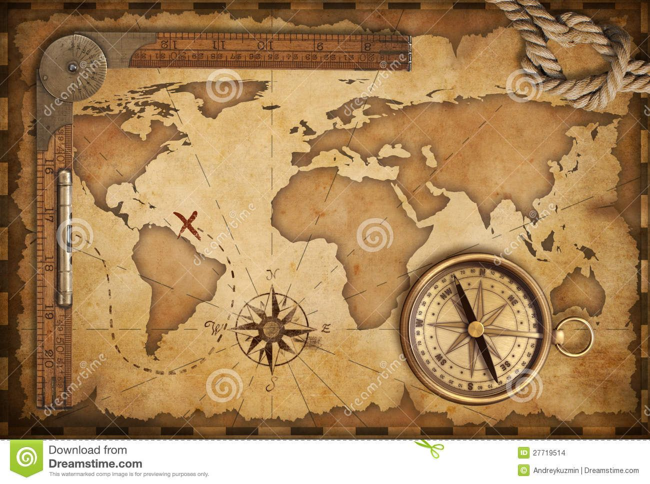 Related image pirates treasure etc ppic pinterest pirate aged brass antique nautical compass and old map with track on it gumiabroncs Images