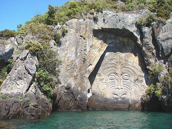 Maori rock carvings mine bay lake taupo new zealand